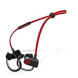 TAIR Bluetooth Headphones With Microphone Wireless Sport Earhook Headset - RED