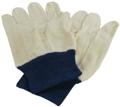 Ladies Size Medium Cotton Canvas Work Gloves With Blue Knit Wrist : ( Pack Of 12 Pairs ) front-87997