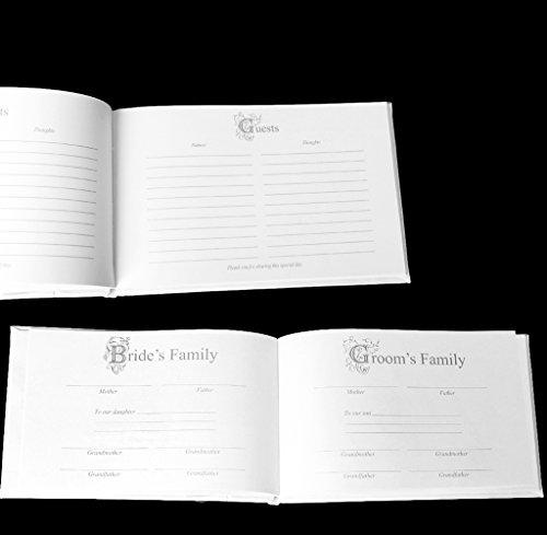 Ensemble de 5 Accessoires de Mariage Livre d'Or Stylo Oreiller d'anneau Panier de Fleur et Jarretière avec Décor de Plume de Paon Artificielle - Blanc