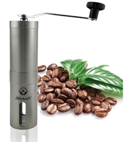 Manual Coffee Grinder,Ceramic Burr ,Stainless Steel, Perfect for Camping, By KitchenV. Get Yours NOW!