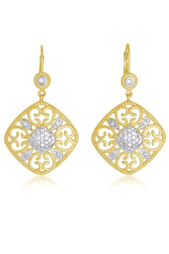 Cable Sterling Silver Filigree Two Tone Square EURO WIRE EARRINGS