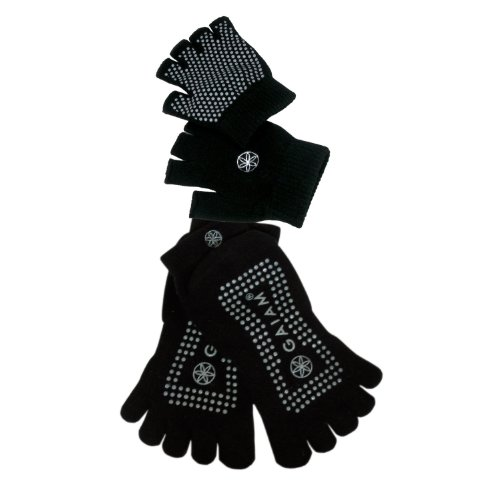 Gaiam Grippy Yoga Sock and Glove Set - Black