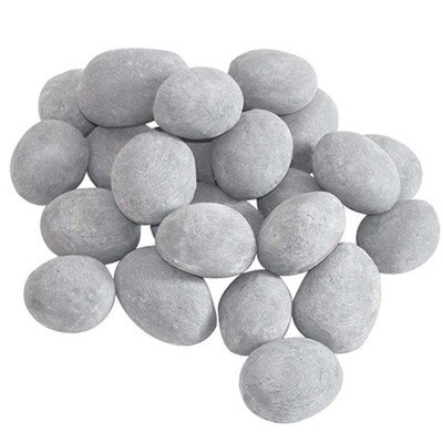 Set of 24 Ceramic Pebbles for Firepit or Fireplaces in Gray (Ceramic Rocks Fireplace compare prices)