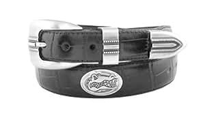 NCAA Florida Gators Black Crocodile Tip Leather Concho Belt, 32
