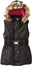 Dollhouse Girls Belted Bubble Vest with Faux Fur Trim Hood - Black (Size 5/6)