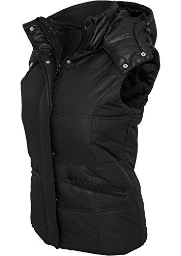 Urban Classics Ladies Shiny Hooded Vest, Color:black;Größe:XS