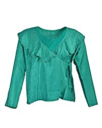 Geroo Women's V-Neck Tops (TUH-6A-2, Green, 40)