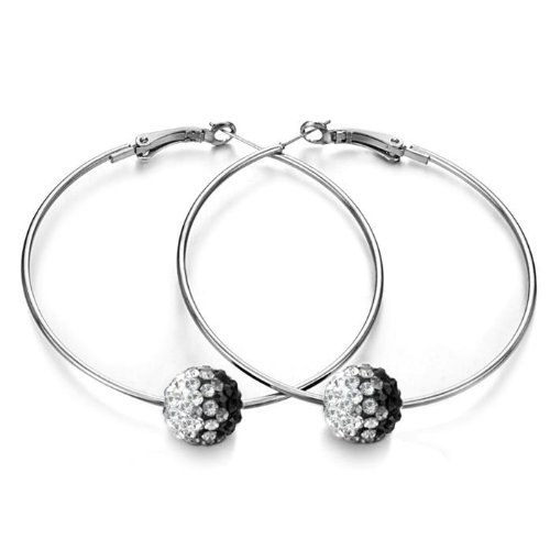 Shamballa Disco Ball Hoop Earrings with Clear to Black Changing Color Austrain Rhinestone Crystal Embellished 1.5
