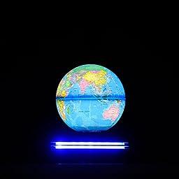 Aoske LED Levitating Globe Levitation Globe Levitron Globe Led Rotating Globe Anti Gravity Globe Levitron Globe World Stage Globe Anti-gravity Floating Levitating Earth -(Light Blue)