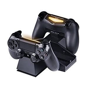 SmaAcc Vertical Stand with Cooling Fans for PlayStation 4 Console - Dual Charger Station for DS4 DualShock 4 Wireless Controller - Unique Super Silence Design For Free from Noise