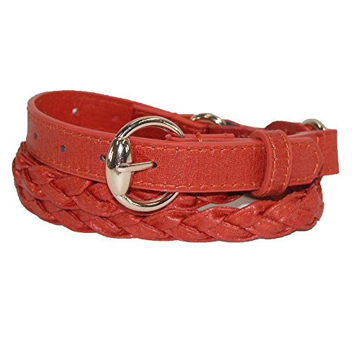 Cilla Collection Womens Gold Buckle Braided Belt, Orange