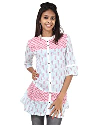 Rajrang Women Cotton Tunic -Pink, White -Small
