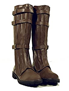 Brown Knee High Strapped Steampunk Renaissance Starwars Star Trek Mens Boots Mens Size Medium 10-11