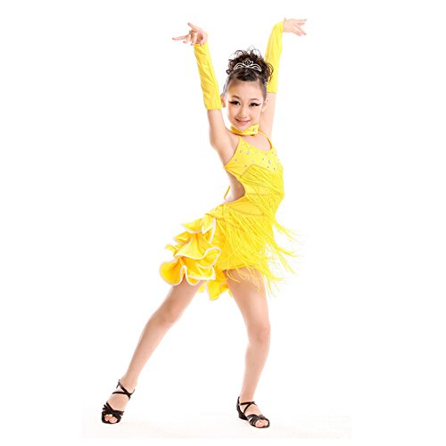 Girls' Dancing Dress Party Dress Latin Dress Costume 110cm-120cm,Yellow