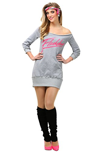 Womens Flashdance Fancy dress costume. Includes sweatshirt dress, black leg warmers and headband. Sizes XS to XL