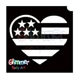 Glimmer Body Art Glitter Tattoo Stencils - USA Flag Heart (5/pack)
