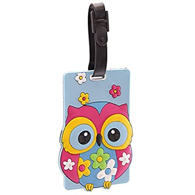 Cute Colourful Owl PVC Luggage Tag from Puckator