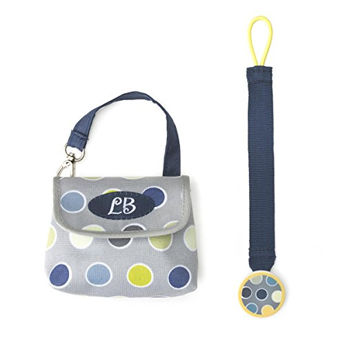 DEMDACO Lillybit Pacifier Pouch and Strap Set, Polka Dot