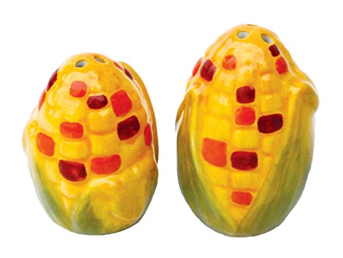 Yellow and Red Indian Corn on Cob Ceramic Salt and Pepper Shaker Set (Indian Corn Cobs compare prices)