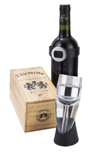 L'Air du Vin Wine Aerator and Wine Thermometer in presentation wooden gift box