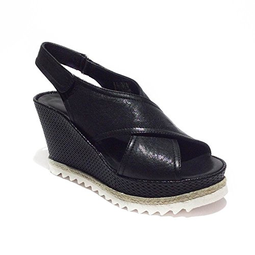 Laura Bellariva sandalo zeppa donna pelle nero made in italy zeppa 9,5cm art5...