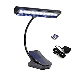 Clip On Music Stand Light, Flexible LED Music Stand Lights, USB Light, USB Reading Lamp, Orchestra Lamp with Adapter and Battery
