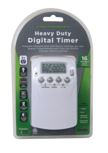 Prime Wire & Cable Tndhd002 2-Outlet Heavy Duty 7 Day Digital Timer With 16 Settings
