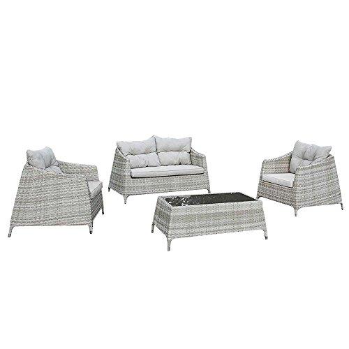 Set salottino in polyrattan divano poltrone tavolino design giardino M0906-15