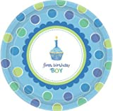 Sweet Cupcake Boy Large Plates (Pack Of 8)