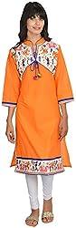 Goodyygoods Women's Cotton Regular Fit Kurti (GG 29, Orange, X-Large)