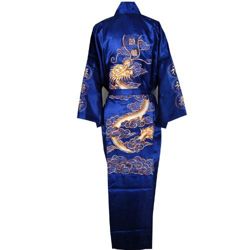 Dragon Bathrobe Bedgown Robe Navy Blue One Size
