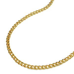 Halskette Kette Panzer 2x diamantiert gold-plattiert 45cm 201501-45