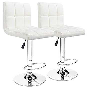 Furmax Bar Stools Pu Leather Swivel Adjustable Hydraulic Bar stool Square Counter Height stool Modern White(Set of 2)