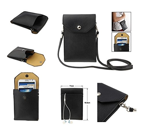 DFV mobile - Universal Litchi Texture Leather Case Pocket Sleeve Bag with Lanyard for Tablet and Smartphone for => ZTE Avid 4G > Black