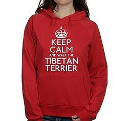 Keep calm and walk the Tibetan terrier womens hooded top pet dog gift ladies Red hoodie white print