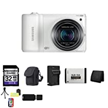 Samsung WB800F Smart Wi-Fi Digital Camera (White) + 32GB SDHC Class 10 Memory Card + External Rapid Charger + Extra SL-B10A Battery + Carrying Case + Memory Wallet + Table Top Tripod, Lens Cleaning Kit, LCD Protector + USB SDHC Reader
