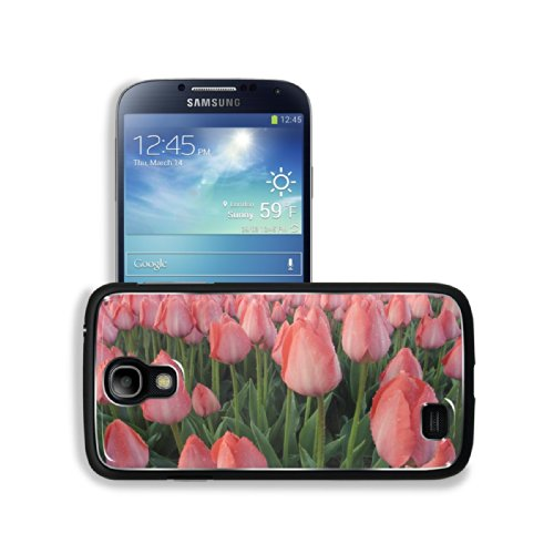 Wet Pink Tulip Buds Field Samsung Galaxy S4 Snap Cover Aluminium Design Back Plate Case Customized Made To Order Support Ready 5 3/16 Inch (132Mm) X 2 13/16 Inch (71Mm) X 4/8 Inch (12Mm) Luxlady Galaxy_S4 Professional Metal Cases Touch Accessories Graphic front-1014322