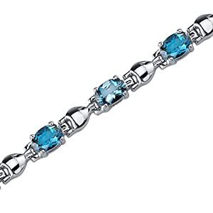 Exquisite Classic: 5.50 carats total weight Oval Shape London Blue Topaz Gemstone Bracelet in Sterling Silver Rhodium Nickel Finish by peora