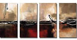 Symphony in Red and Khaki by Maitland Custom 4-pc Premium Stretched Canvas Set (Ready to Hang)