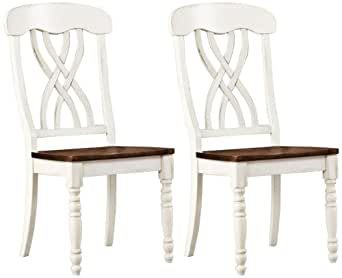 HomeBelle Set of 2 Antique White Farmhouse Dining Chairs