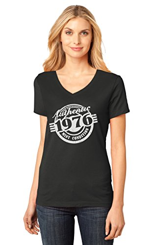 40th Birthday Gift Authentic 1976 Mint Condition Funny V-Neck Women T-Shirt Small Black
