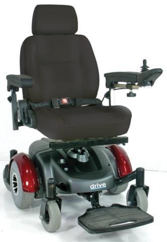"Image Ec Mid Wheel Drive Power Wheelchair, Burgundy, 18"""