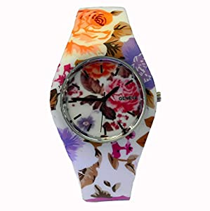 Style Gift Women Ladies Flower Print Rubber Unisex Quartz Watch SG1237-#9