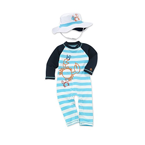 Coolibar Upf 50+ Baby Beach One Piece Swim Set - Uv Swimwear (6-12 Months - Crab)