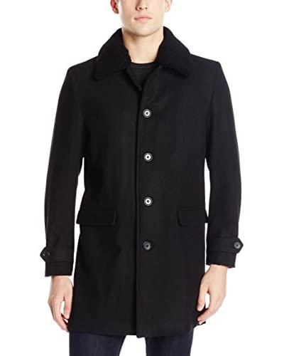 Ben Sherman Mantel Detachable Shearling Carcoat schwarz