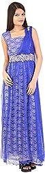 Mansi Women's Regular Fit Anarkali Gown (MS-111, Blue, Large)