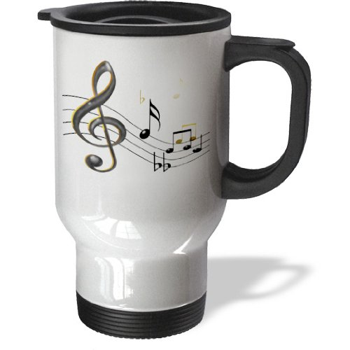 Tm_55502_1 777Images Designs Graphic Design Music - Music Notes Clef, Sixteenth, Quarter Notes, Beamed Notes, Flats And Sharps In Black And Gold - Travel Mug - 14Oz Stainless Steel Travel Mug