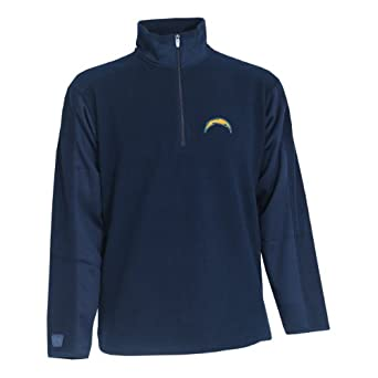 NFL Mens San Diego Chargers 3 4 Zip Fleece Pullover by Antigua