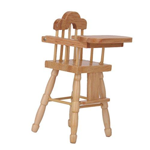Chaise Haute en Bois Mobilier Miniature pour Maison de Poupée Couleur Naturelle