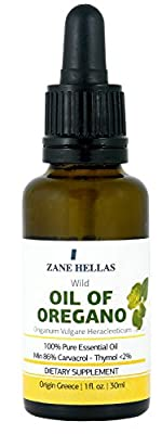 SUPER 100. 100% Pure Greek Wild Essential Oregano Oil.Min 86% Carvacrol. 1 fl.oz. - 30ml. Provides Carvacrol per Serving 129 mg by ZANE HELLAS